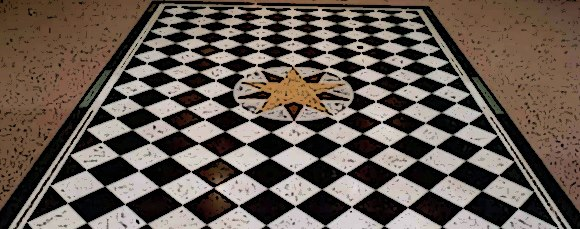 """The black and white checkered floor has existed in temples since the times of ancient Egypt. More than simply decorative, the mosaic pavement bears a profound esoteric meaning. Today it is one of Freemasonry's most recognizable symbols and is the ritualistic floor of all Masonic lodges. The pavement is the area on which initiations occur and is """"emblematic of human life, checkered with good and evil"""""""