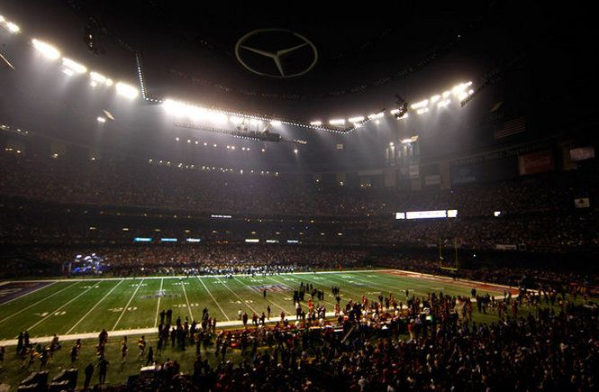 BLACKOUT Superbowl 2013, half the dome was lit up, the other half including where  the symbol was, making it a black sun. For 33-34 minutes, at 9:11pmIt rained down.