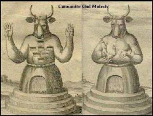 "Moloch (representing Semitic מלך m-l-k, a Semitic root meaning ""king"")"