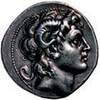 Silver tetradrachmon (ancient Greek coin) issued in the name of Alexander the Great, depicting Alexander with the horns of Ammon.