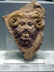 Roman cast terracotta of ram-horned Jupiter Ammon, 1st century AD (Museo Barracco, Rome)