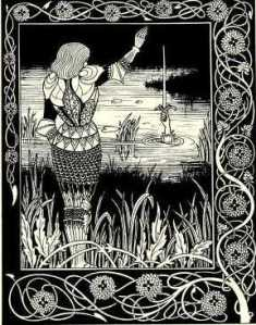 The Lady of the Lake and Sir Bedivere. Illustration by Aubrey Beardsley, from an 1894 edition of Le Morte d'Arthur.