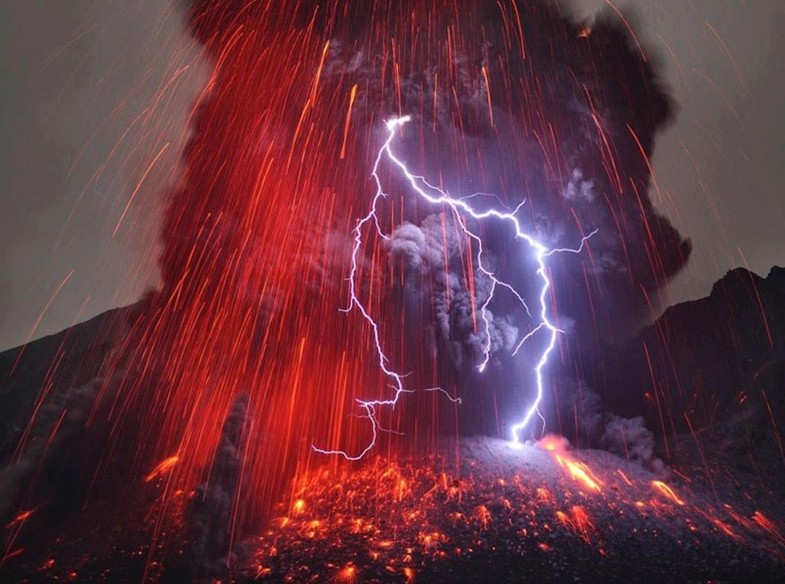 Sakurajima Volcano with Lightning January 2013
