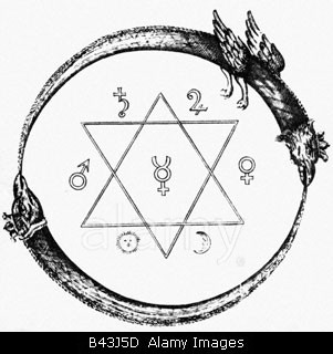 alchemy, symbols, Annulus Platonis (seal of Solomon), copper engraving, 1723, symbol, astrology, zodiac, sun, moon, Mars, Venus,