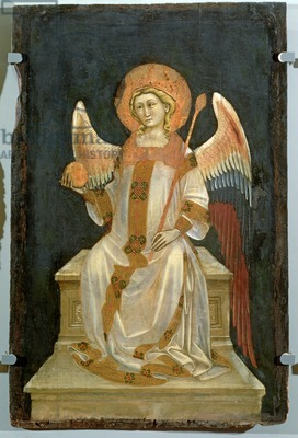 Angel Seated on a Throne, the Orb in one hand, the Sceptre in the other, c.1348-54 (oil on panel)