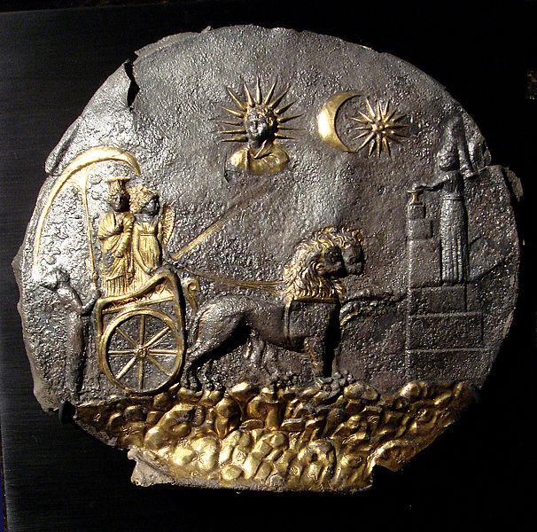 Plate depicting Cybele, a votive sacrifice and the sun God. Ai Khanoum, 2nd century BCE. Musée Guimet.