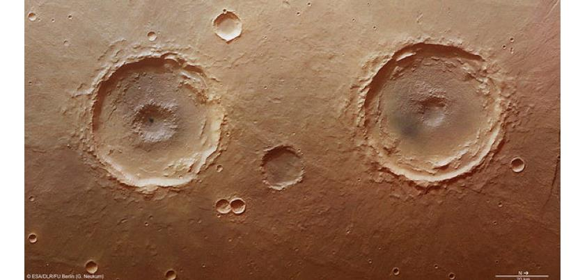 'twin' craters are in the Thaumasia Planum region, Mars