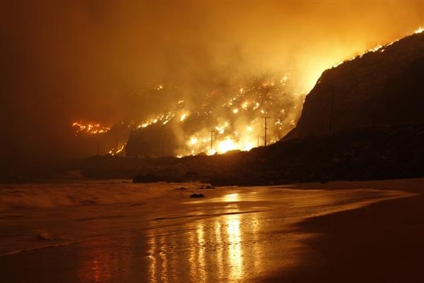 Near Malibu, CA http://usnews.nbcnews.com/_news/2013/05/02/18018487-monster-california-wildfire-reaches-ocean-pushes-toward-malibu?lite