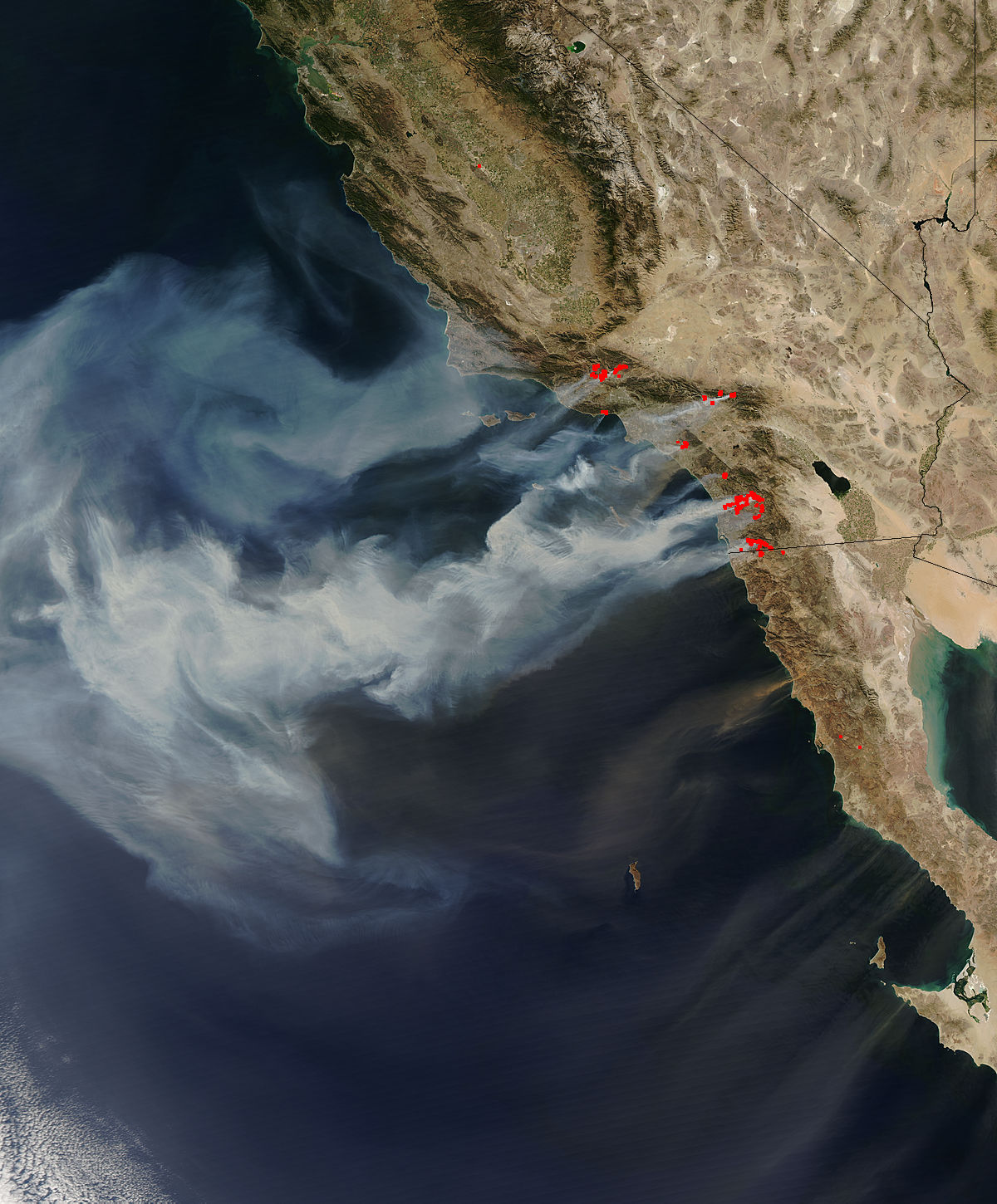 CA wild fires seen from space