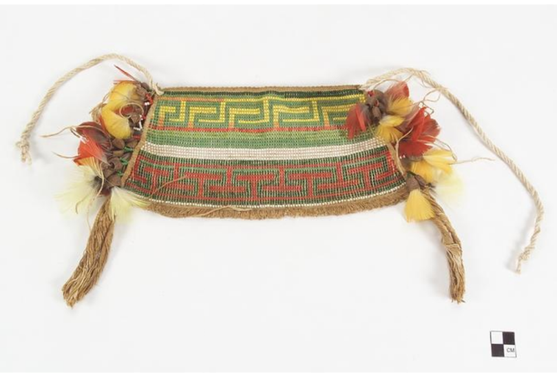 Woman's apron. Media/Materials: Glass bead/beads, macaw feather/feathers, nut/nuts, cordage, cotton cord/cordage. Techniques: Loom beadwork, strung. Culture/People: Hixkaryána http://collections.si.edu/search/results.htm?date.slider=&q=culture%3A%22Northern+Amazonia%22&fq=name:%22Blumenthal%2C+Sonia+Grodka%22(Hixkaryana)