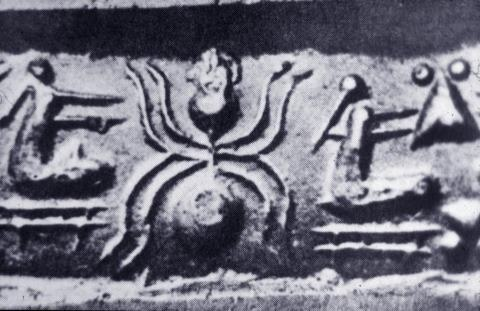 Spider with women weaving. Uruk, circa 3000 bce. Southern Iraq. Spider and weaver, a connection all over, from Arizona to Peru to Britain to Cameroon - Max Dashu, Suppressed Histories Archives