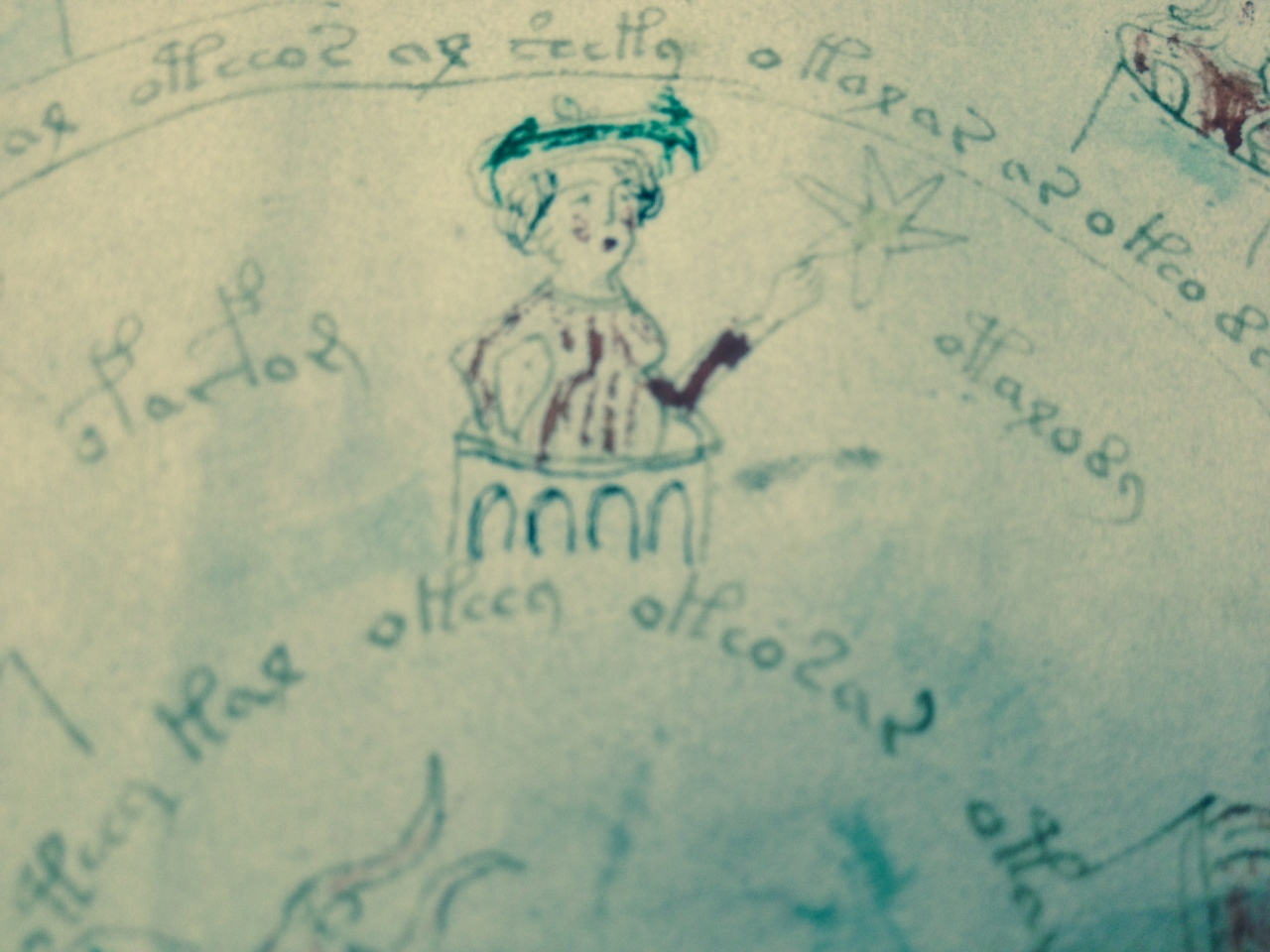 Crowned woman figure in the Voynich Manuscript photo by Hillary Raimo Yale University 11/19/13