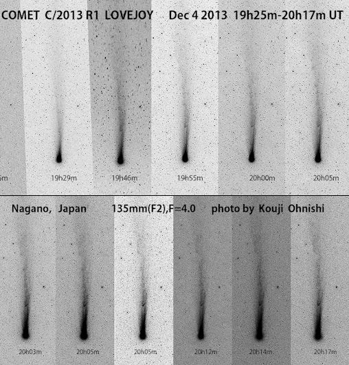 """COMET LOVEJOY'S ACTIVE TAIL: Amateur astronomers around the northern hemisphere are reporting activity in the tail of naked-eye Comet Lovejoy (C/2013 R1). In Nagano, Japan, astrophotographer Kouji Ohnishi could see big changes in less than an hour of monitoring: Michael Jäger saw the same """"disconnection event"""" from his observatory in Masenberg, Austria, on Dec. 5th. The disturbance could be caused by a gust of solar wind or perhaps an episode of vigorous outgassing in the comet's core.Comet Lovejoy is now about as bright as a 4th magnitude star. It is visible to the unaided eye from the countryside and is an easy target for backyard telescopes even in urban areas. Monitoring is encouraged. Comet Lovejoy rises in the east just before the morning sun. Sky maps: Dec. 7, 8, 9."""