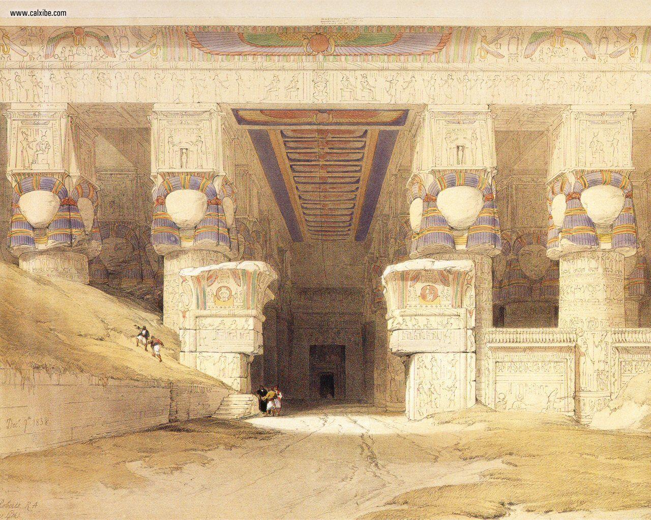 David_Roberts_pg06_The_Facade_Of_The_Temple_Of_Hathor_At_Dendera_