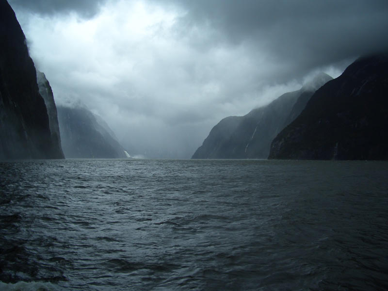10.07a. Milford sound on a stormy, rainy day