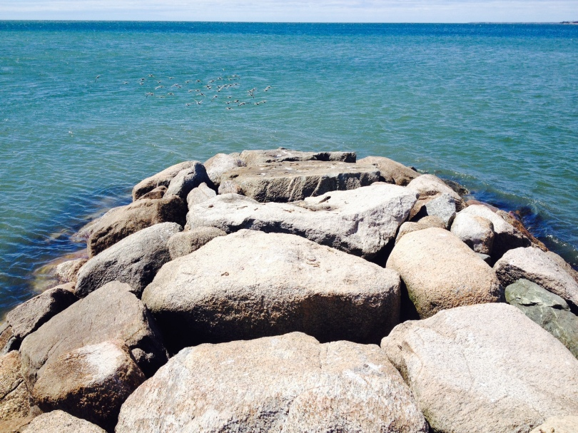 The path leads to a rock jetty out into the merging of two currents. photo by Hillary Raimo 4/28/14