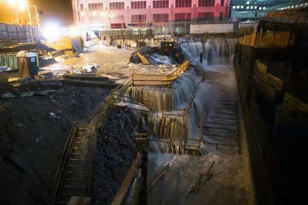 9/11 site during hurricane Sandy