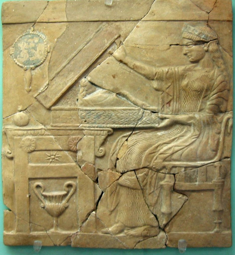Persephone opening a cista containing the infant Adonis, on a pinax from Locri